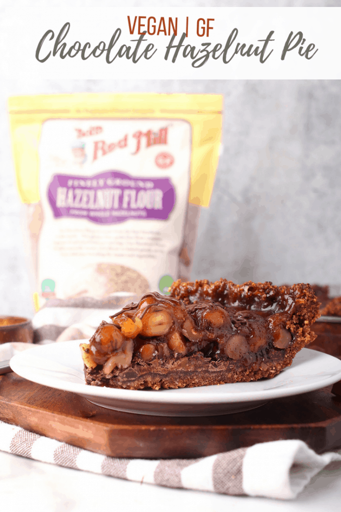 This chocolate hazelnut pie is a vegan and gluten free treat that is perfect for the holidays. It's like a classic pecan pie made vegan and with hazelnuts and chocolate - an instant holiday favorite!