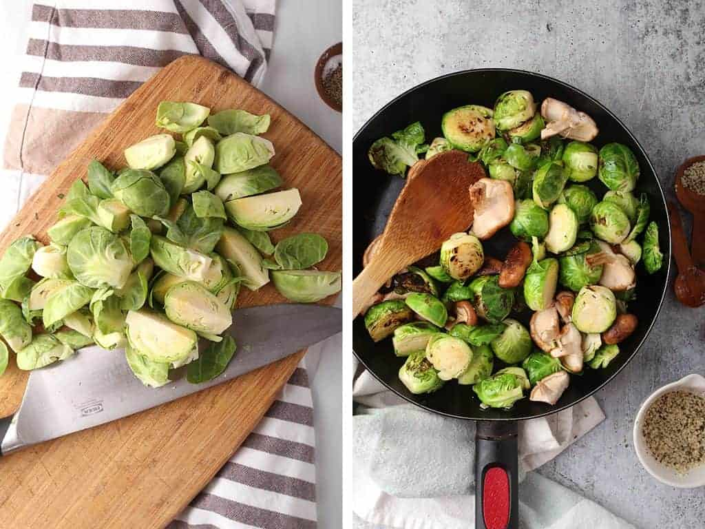 Chopped and sautéed Brussels sprouts