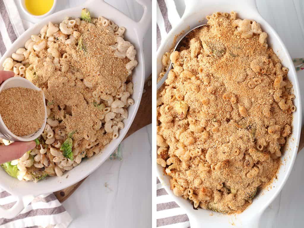 Unbaked casserole in a white casserole dish