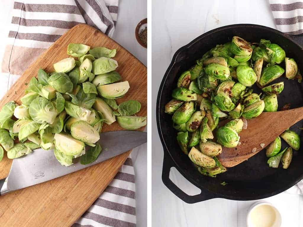Halved Brussels sprouts sautéed in a large skillet