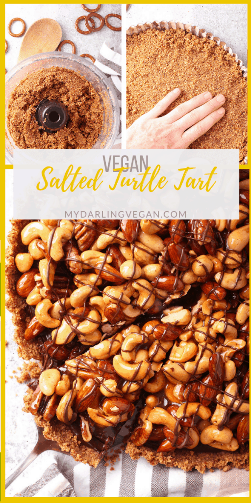 This salted turtle tart is the knock-your-socks-off dessert you need on your table this holiday season. It's a salty pretzel crust with velvety chocolate ganache and caramel coated assorted nuts for a vegan dessert that is the perfect end to any celebration!