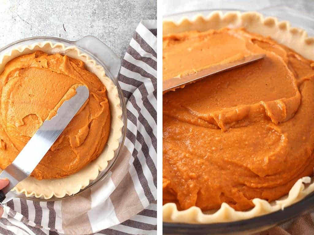 Pie filling smoothed inside an unbaked pie crust