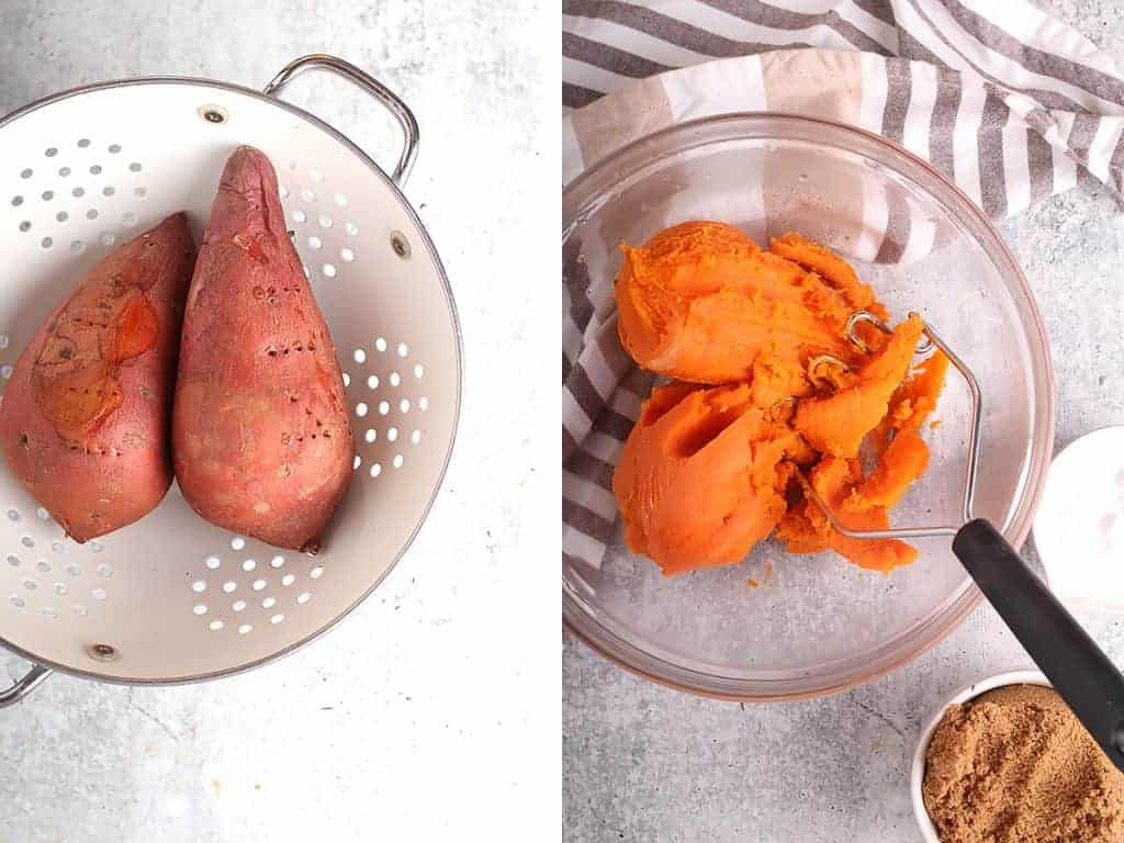 Two sweet potatoes baked and mashed in a bowl