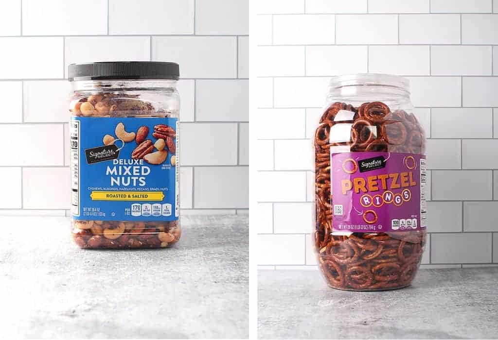 Assorted nuts and pretzels on a countertop