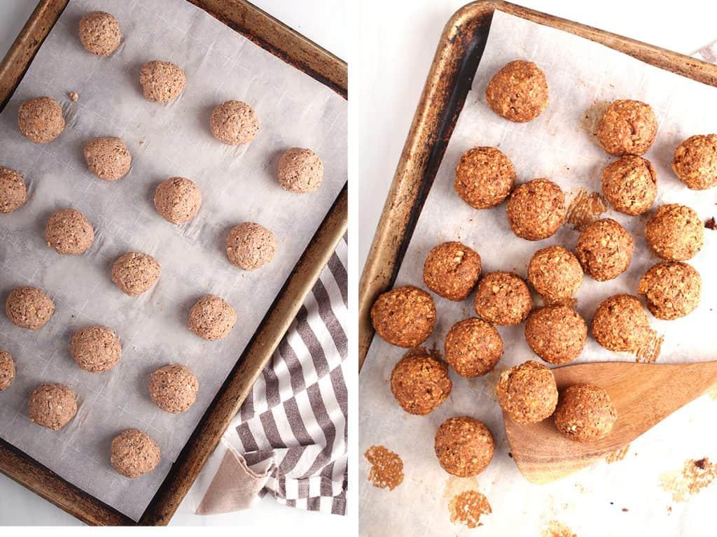 Homemade meatballs on a baking sheet