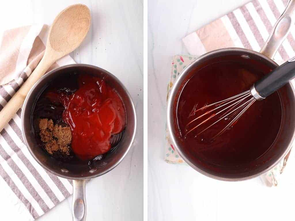 Cranberry sauce and ketchup simmering in a pot