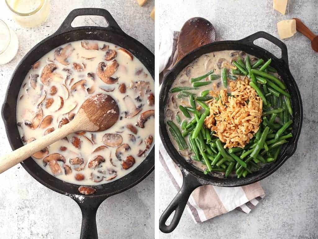 Mushroom cream sauce and green beans in a skillet