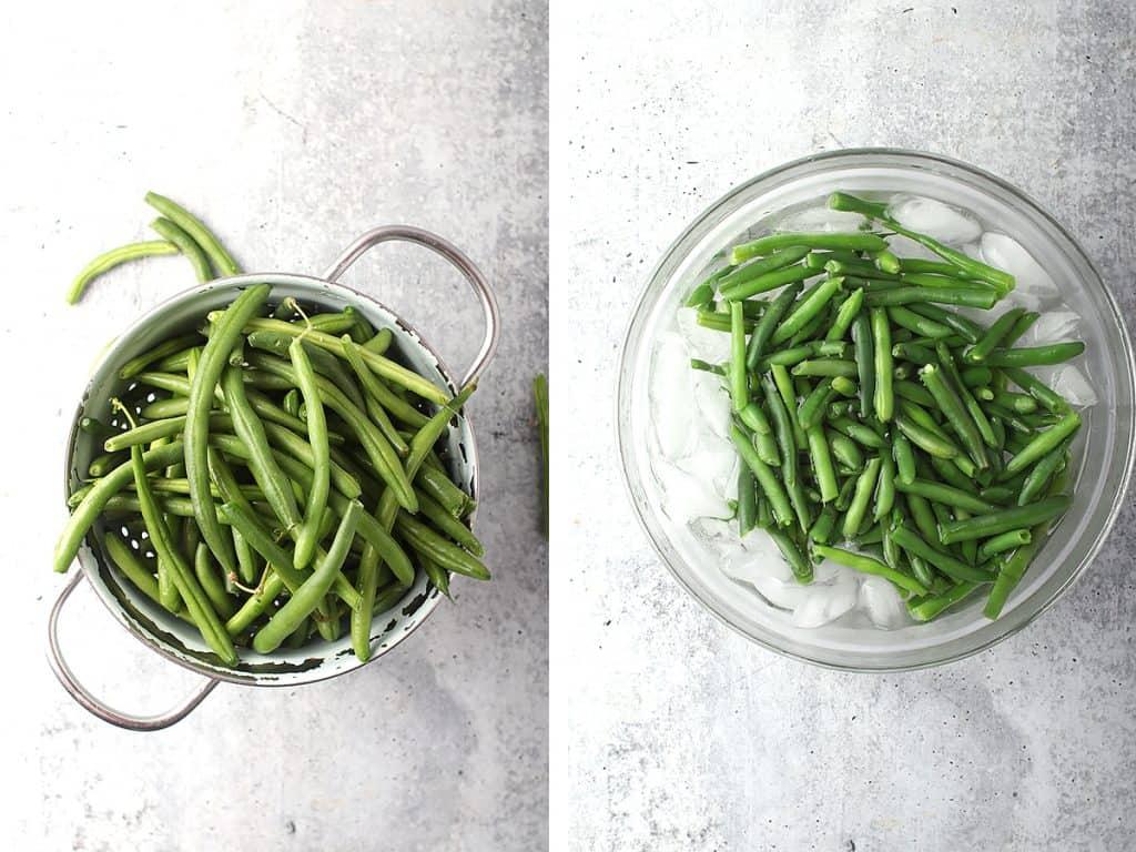 Fresh green beans in a colander