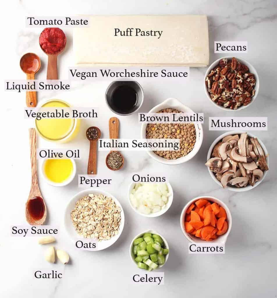 Ingredients for vegan Wellington on a marble countertop