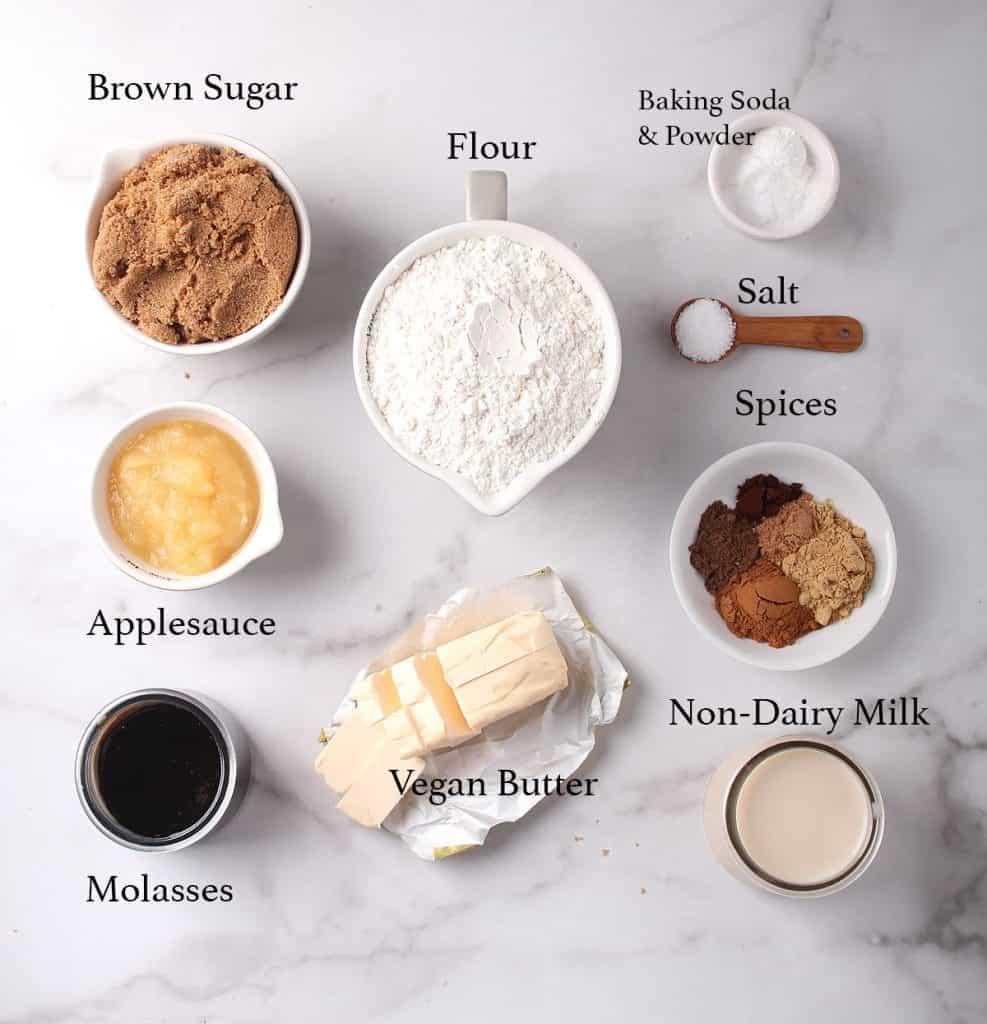 Ingredients for vegan bundt cake on a marble countertop