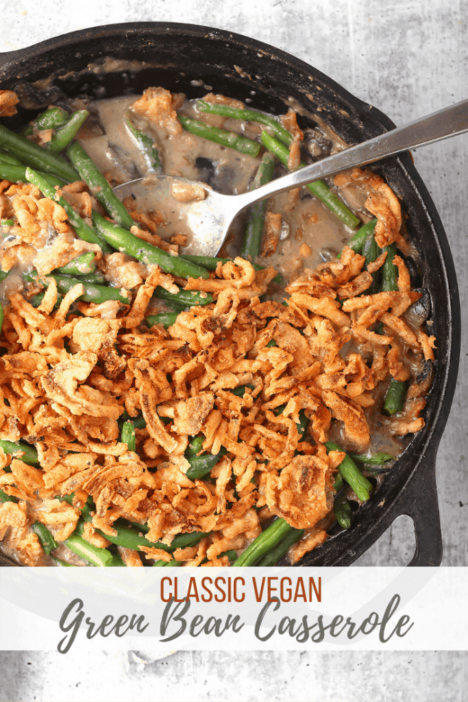 This vegan green bean casserole is perfect for your plant-based holidays. Even your non-vegan friends and family will love this version. It's made with homemade mushroom cream sauce for a flavor that is out of this world! Made in 30 minutes!