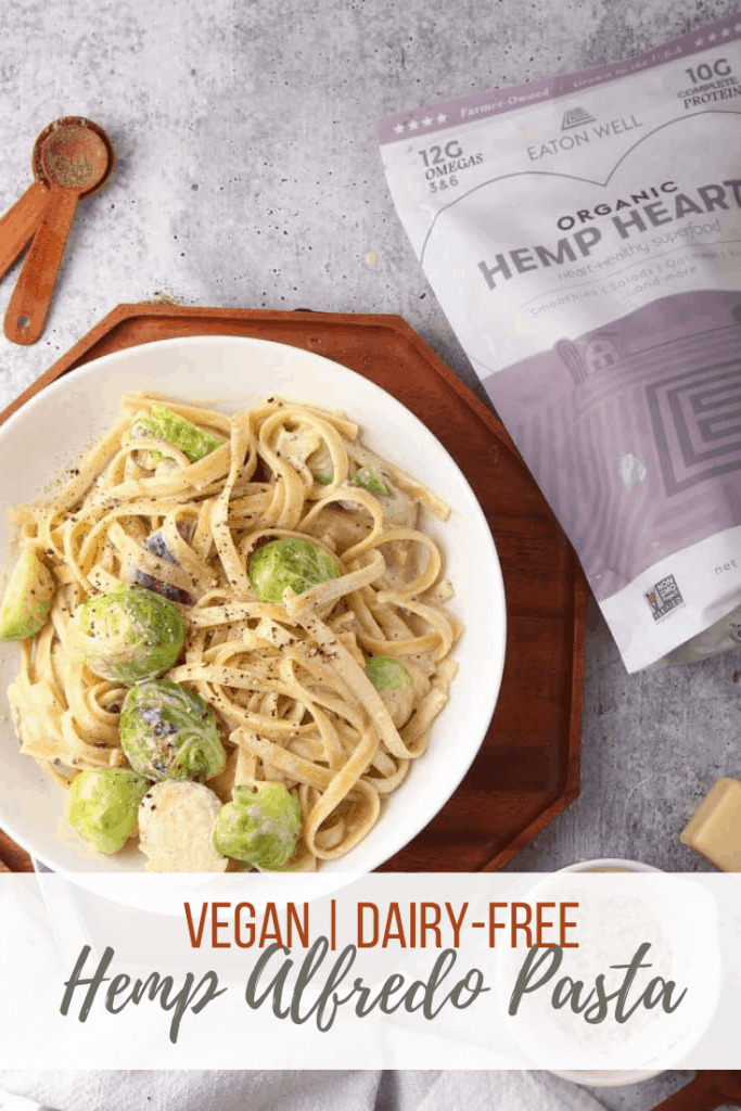 You're going to love this hemp alfredo pasta. It's a creamy white sauce mixed with fettuccine pasta and sautéed vegetables for a quick and easy weeknight meal. Made in under 30 minutes!