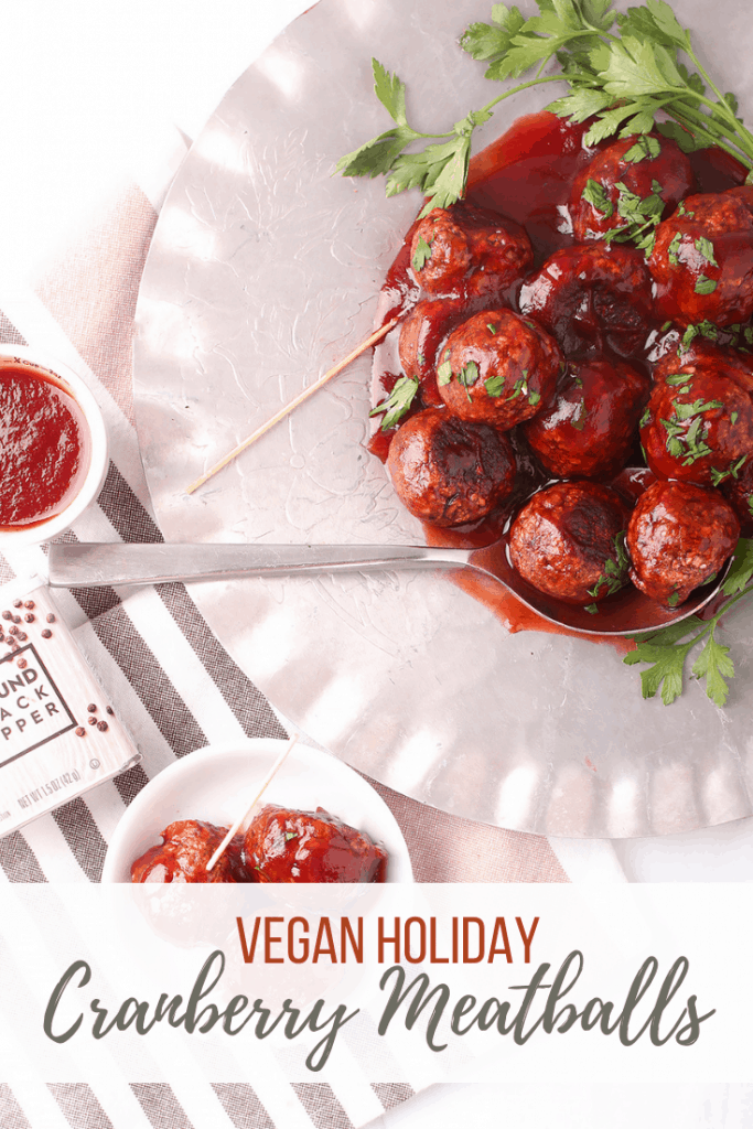 These vegan cranberry meatballs are the perfect blend of sweet and spicy. They are made with a mushroom walnut base and tossed in homemade cranberry sauce for the perfect holiday appetizer.