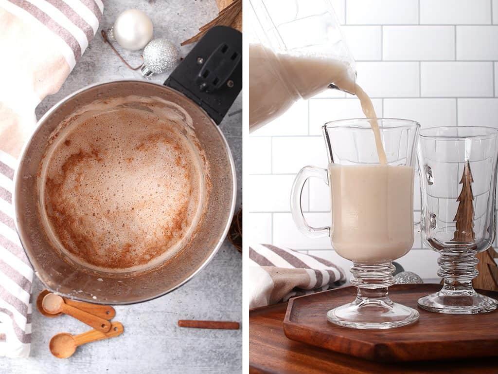 Eggnog poured into a glass mug