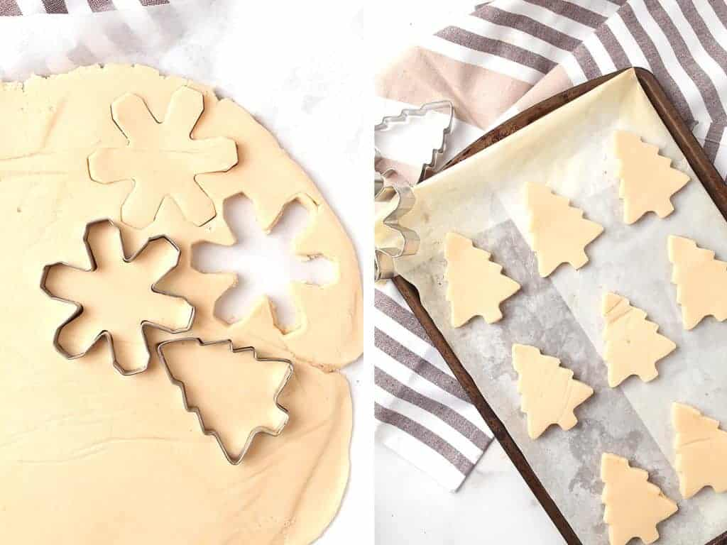 Christmas shaped cut into the cookie dough
