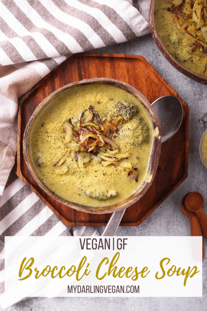 Vegan Broccoli Cheese Soup! Whip it up in minutes for a hearty, creamy, and oh so cheesy soup; it's perfect for a cold winter day. Made with fresh broccoli, russet potatoes, and vegan cheese sauce for a vegan and gluten-free meal.
