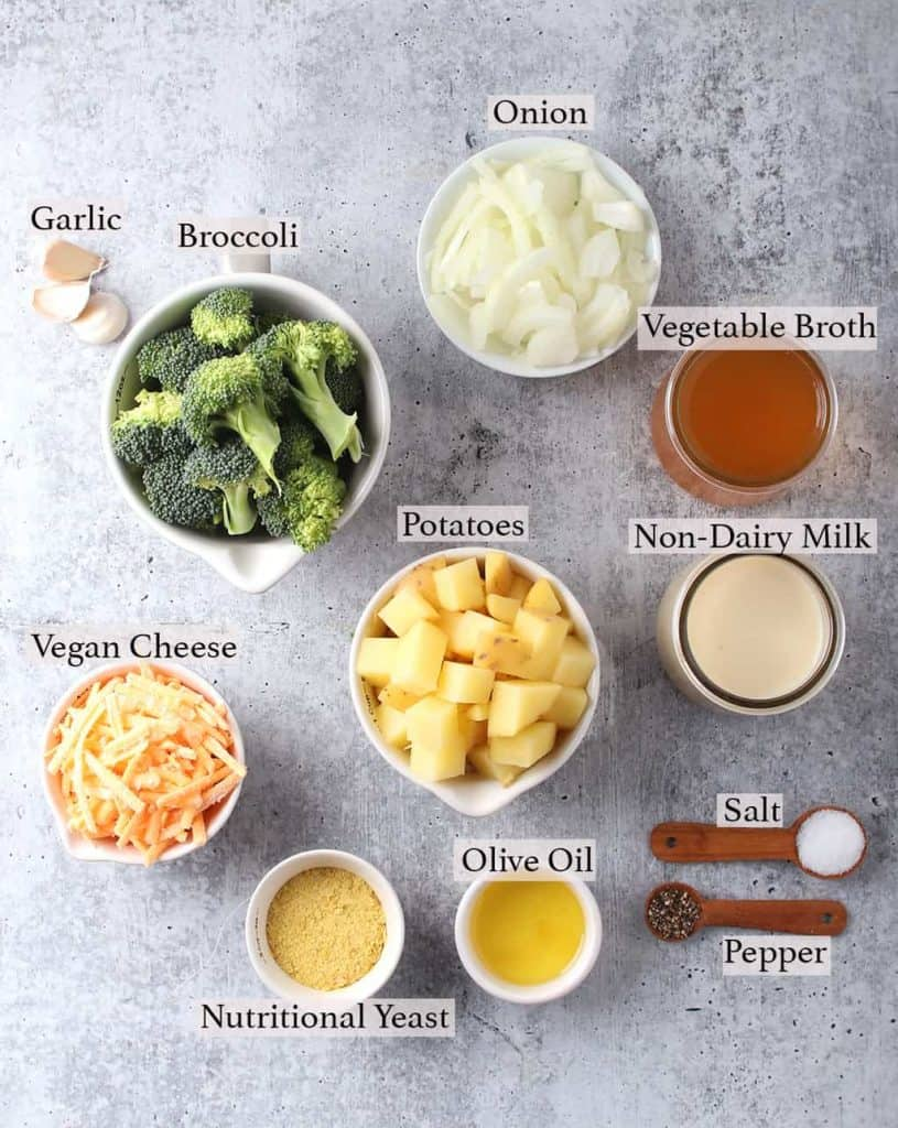 Ingredients for broccoli cheese soup measuring into small cups