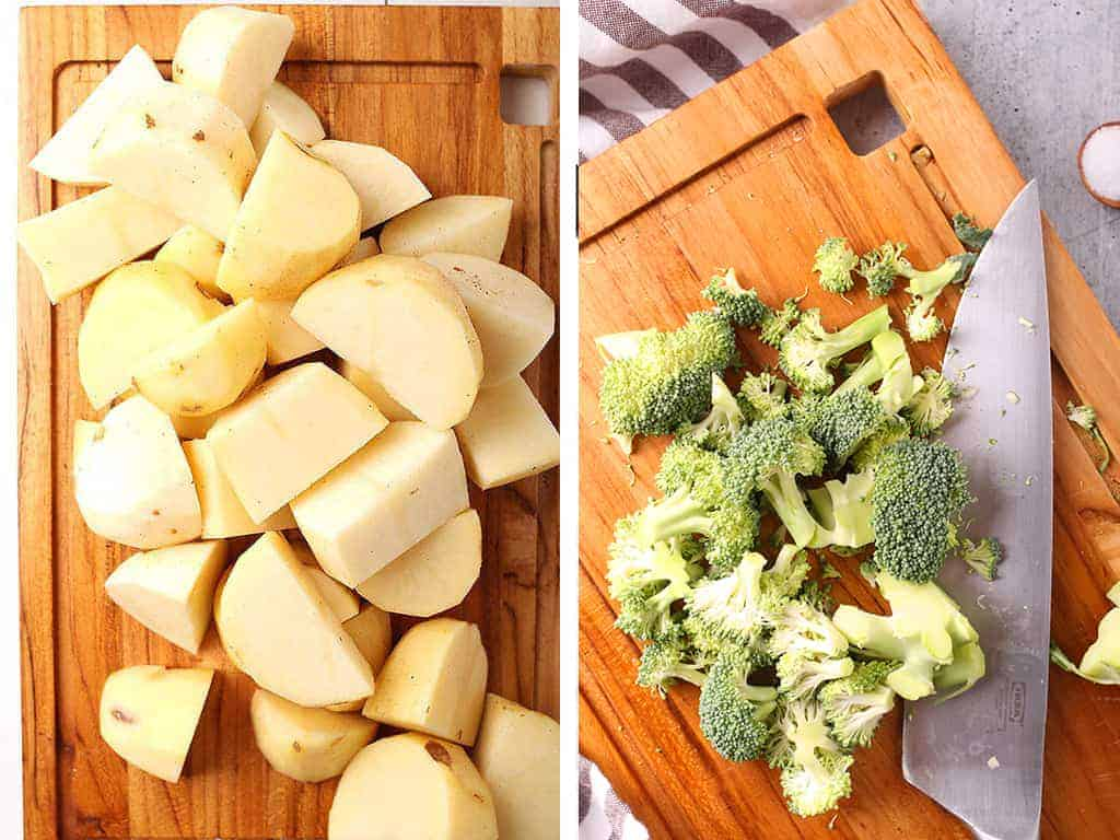 Chopped potatoes and broccoli on a cutting board