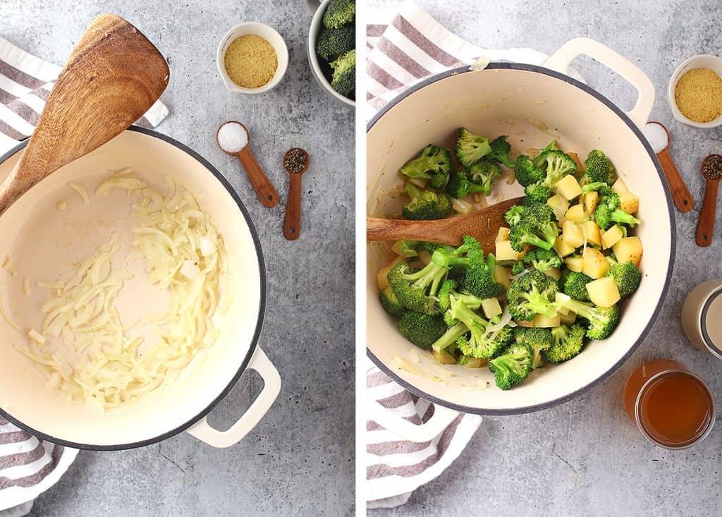 Sautéed onions, broccoli, and potatoes in a cast iron soup pot