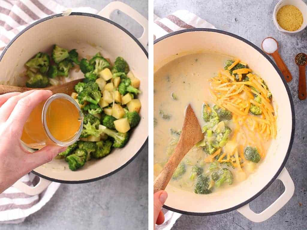 Broccoli cheese soup in a large cast iron soup pot