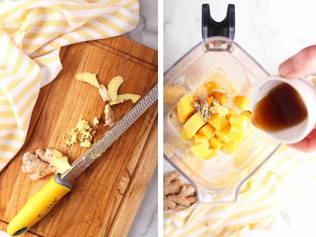 Grated ginger on a cutting board