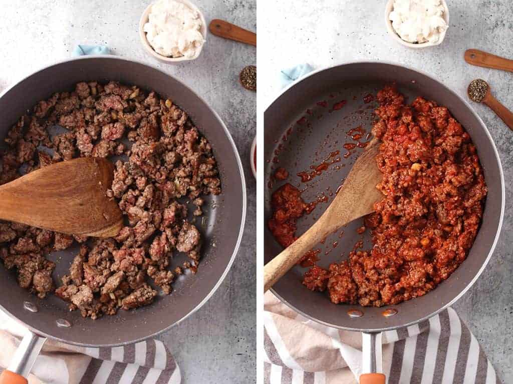 Vegan meat sauce in a large skillet