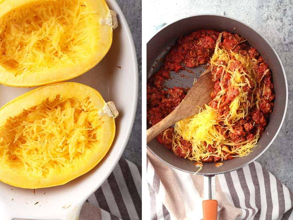 Shredded spaghetti squash in a large skillet with homemade meat sauce