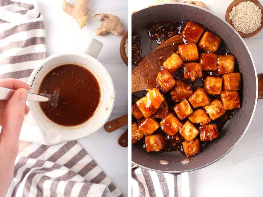 side by side images - hand stirring together general tso's sauce ingredients on the left, completed general tso's tofu in a sauté pan on the right