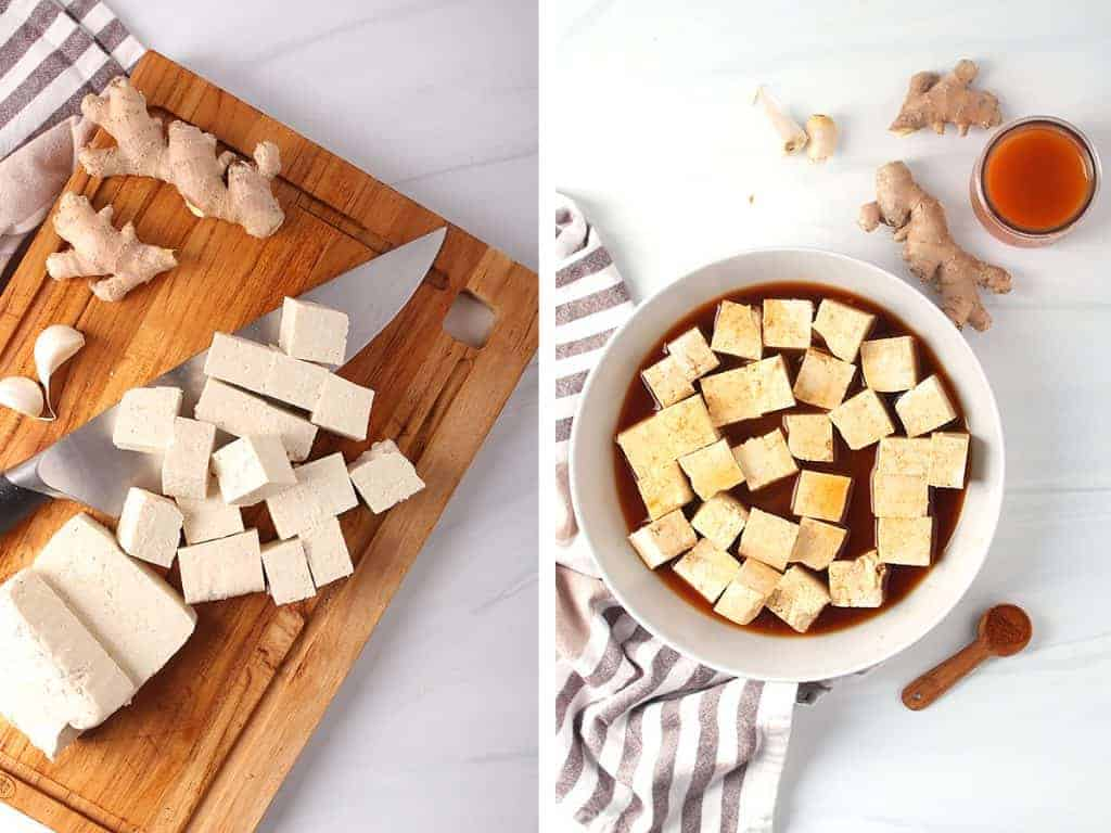 side by side images - tofu being cut into cubes on a cutting board on the left, tofu cubes marinating in a bowl on the right