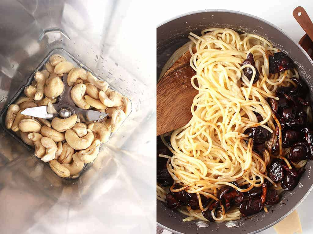 side by side image of raw cashews, water and nooch in a blender on the left, and pan with cooked pasta, vegan mushroom bacon and carbonara sauce on the right