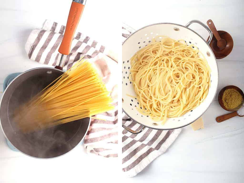 side by side shot of dried spaghetti that has been added to boiling water in a pan, and cooked spaghetti in a white colander