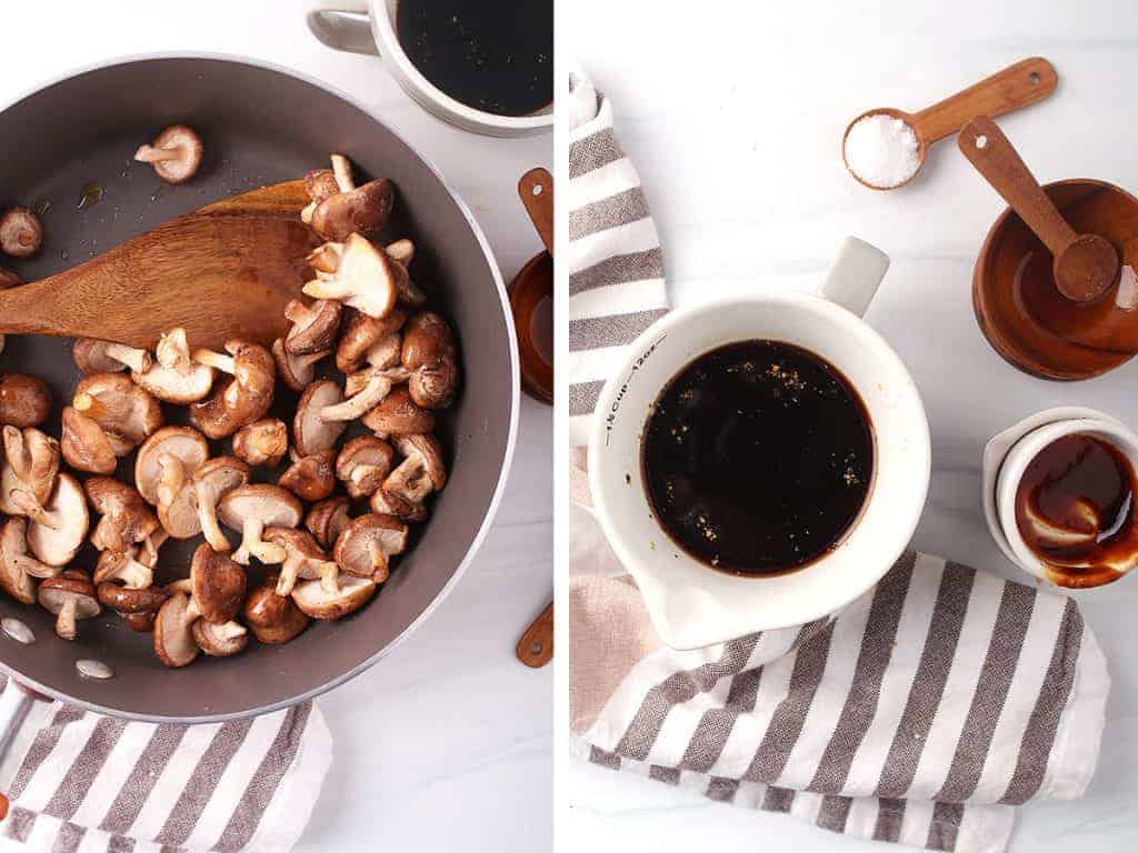 side by side image of shiitake mushrooms in a sauté pan on the left and the vegan bacon marinade ingredients stirred together in a white measuring cup on the right