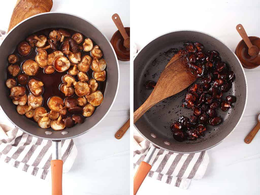 side by side image of shiitake bacon cooking as liquid was just added on the left, and completed shiitake bacon in the pan on the right