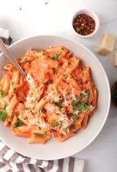 Plate of pasta alla vodka
