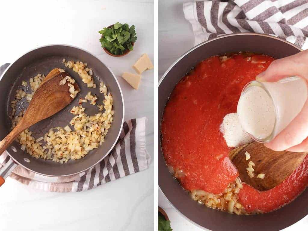 side by side images illustrating how to make vegan vodka sauce - sautéing onions, garlic and red pepper flakes on the left, adding puréed tomatoes and cashew cream on the right