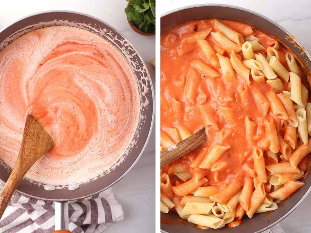 side by side images - wooden spoon stirring vegan vodka sauce in sauté pan on the left, pasta added to the sauce on the right