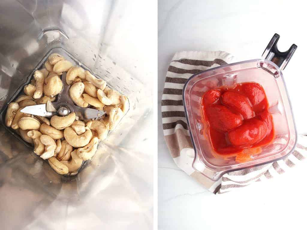 side by side images overhead of blender pitcher - raw cashews and water on the left, whole canned tomatoes and their sauce on the right