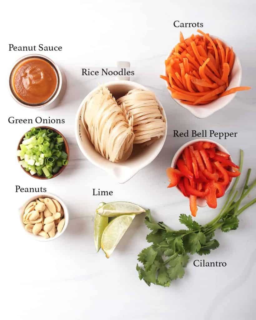 mise en place for vegan Thai peanut noodle recipe - small owls of peanut sauce, sliced green onions, peanuts, rice noodles, lime wedges, carrot and bell pepper matchsticks and fresh cilantro