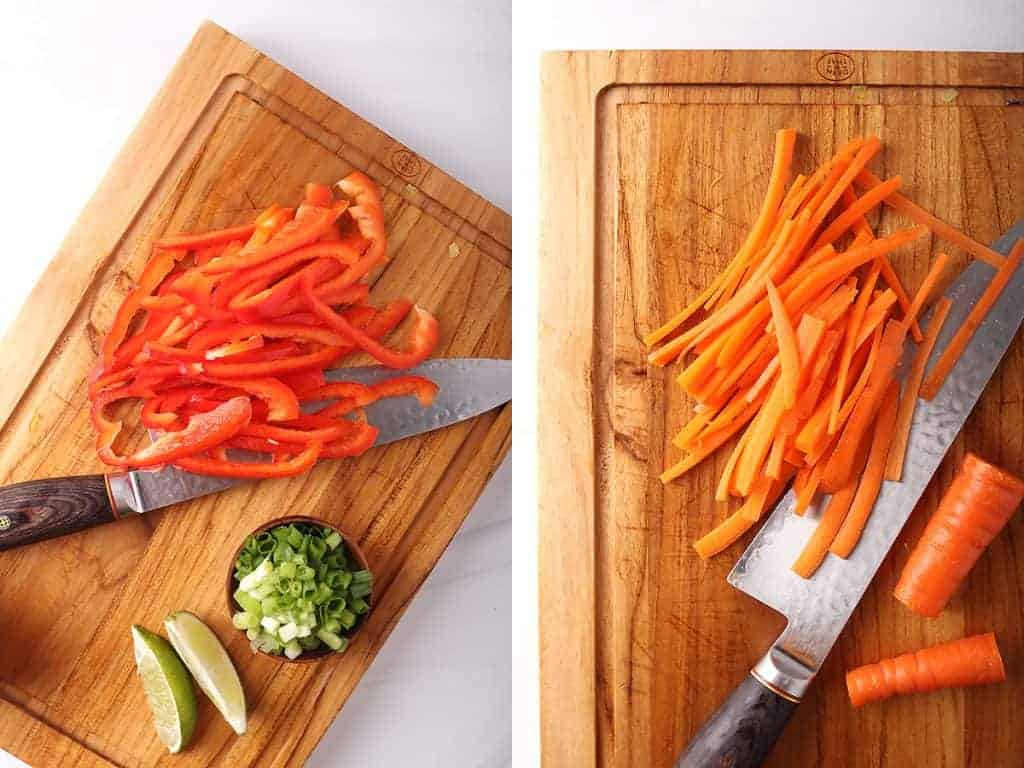 side by side images of julienned bell peppers and julienned carrots on a wooden cutting board with a chef's knife