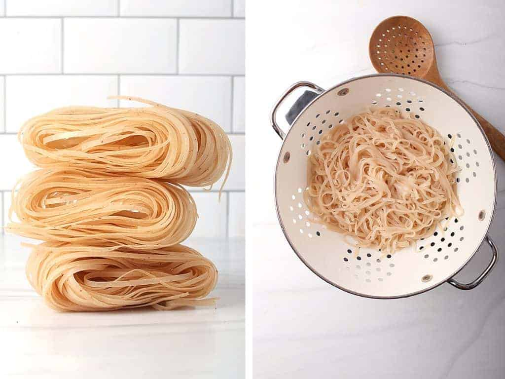 side by side images of raw rice noodles stacked on a counter and cooked rice noodles in a white colander