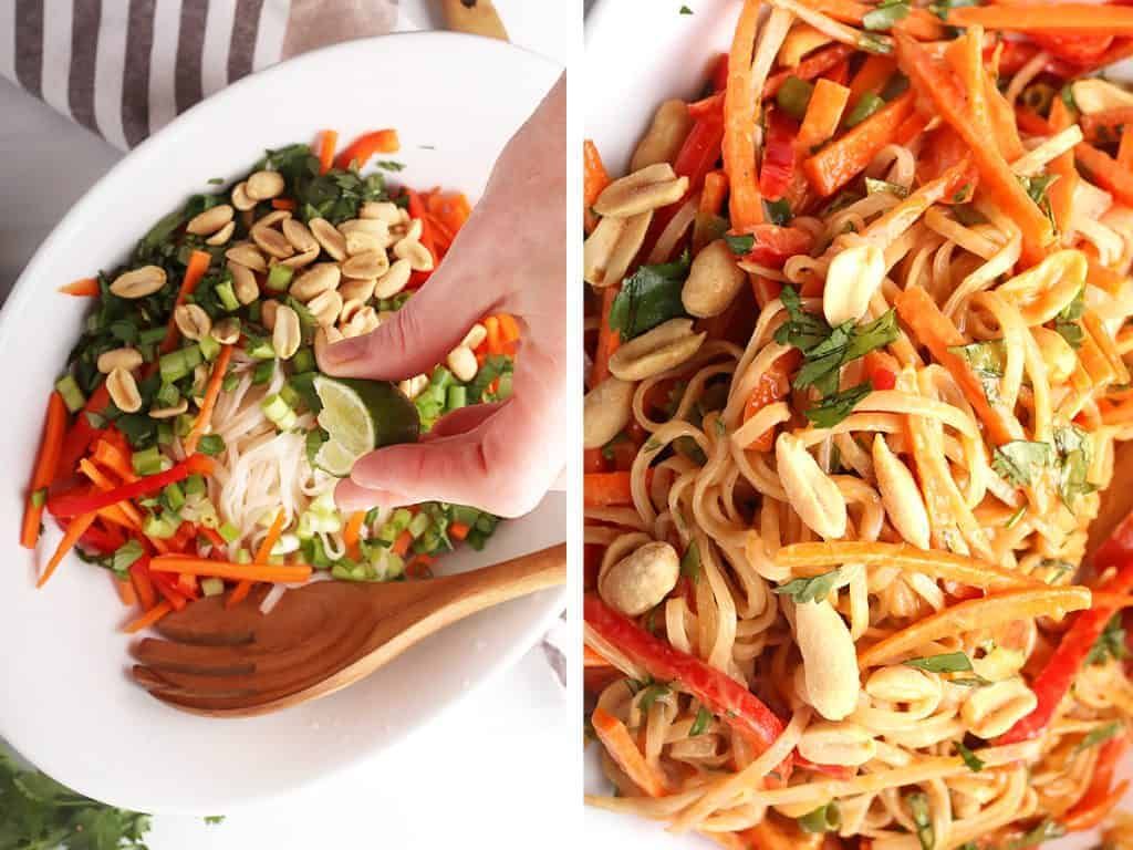 side by side images. hand squeezing lime onto Thai peanut noodle salad prior to tossing on the left and a close up shot of completed Thai peanut noodle salad on the right