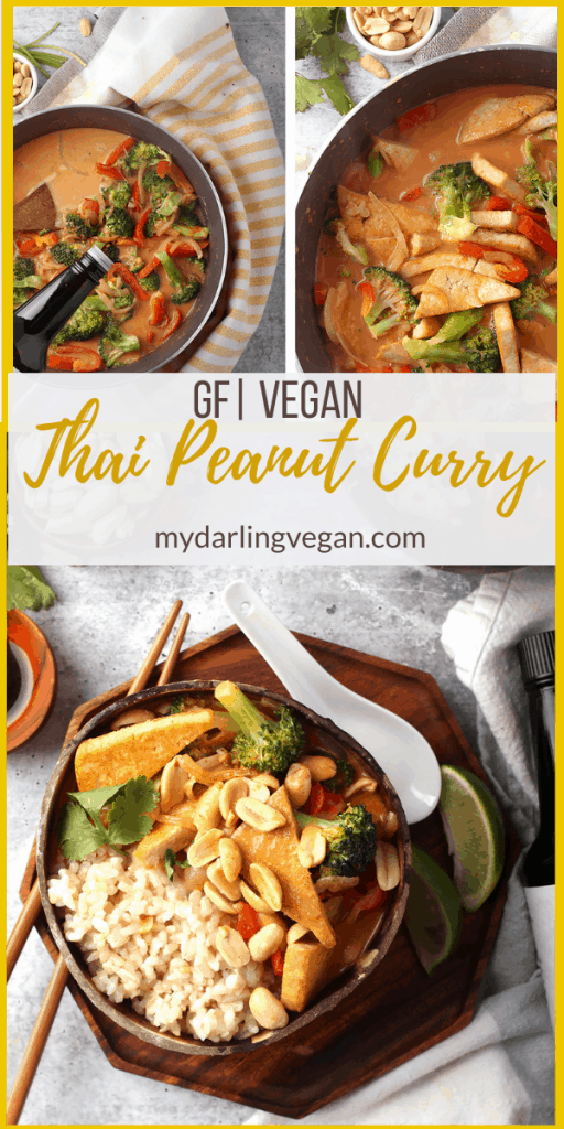 This Thai Red Curry is made with crispy tofu and sautéd red peppers and broccoli cooked in a creamy peanut red curry sauce. Serve it over rice or rice noodles for an easy vegan and gluten-free meal.