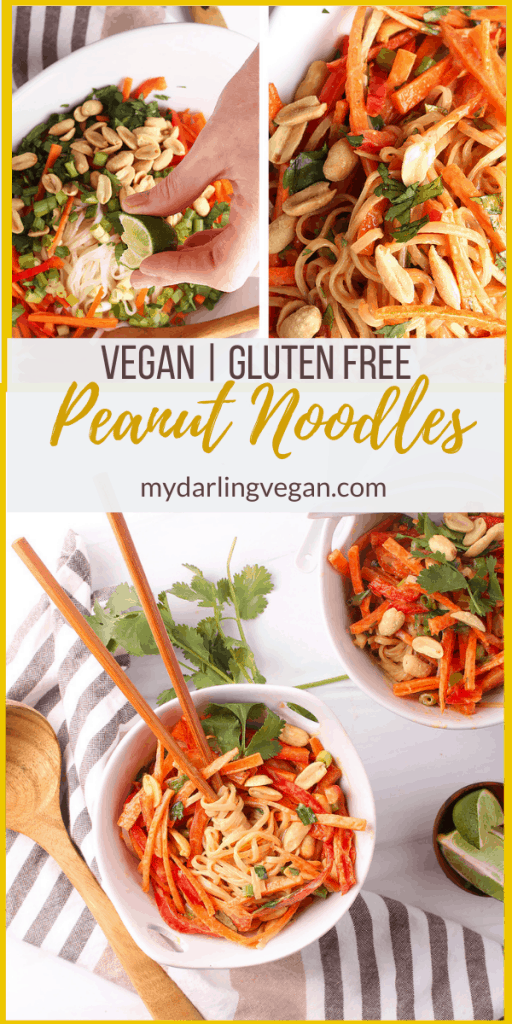 This simple recipe for vegan Peanut Noodles is ready for munching in less than 30 minutes. Talk about a weeknight dinner dream come true! Part noodle bowl and part salad, this crunchy, crisp and refreshing make ahead meal is a perfect salve for weary tastebuds. Instructions included for both gluten free and nut free versions in the post.