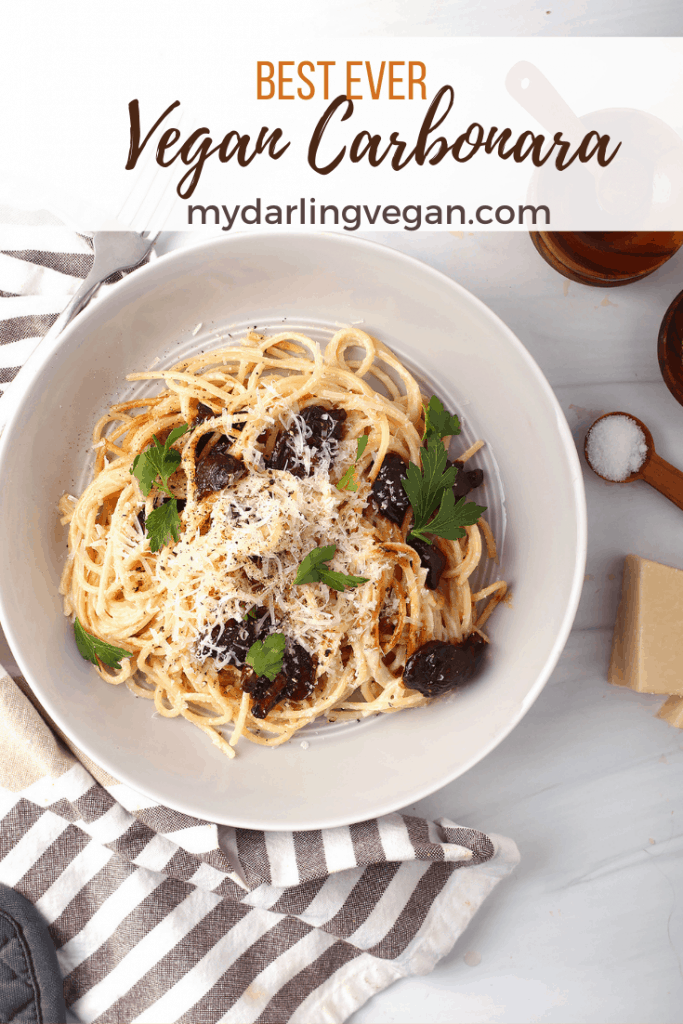 A creamy Italian comfort food classic gets a plant based makeover with cashew cream and shiitake bacon. Try my Vegan Carbonara recipe today for an easy 30-minute weeknight meal.