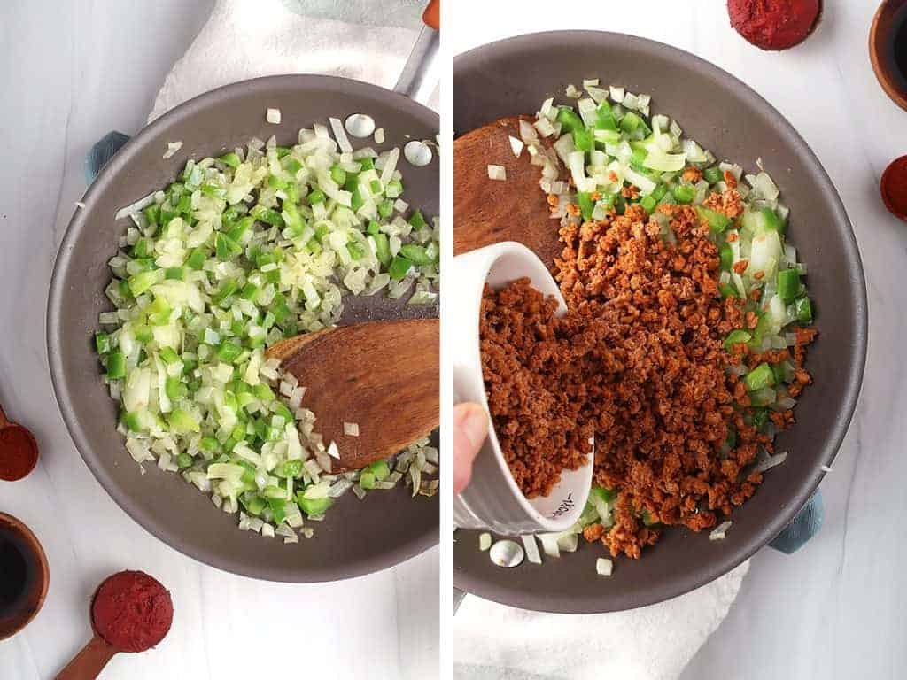 side by side image of sautéing onions and peppers on the left, and vegan meat crumbles being added on the right