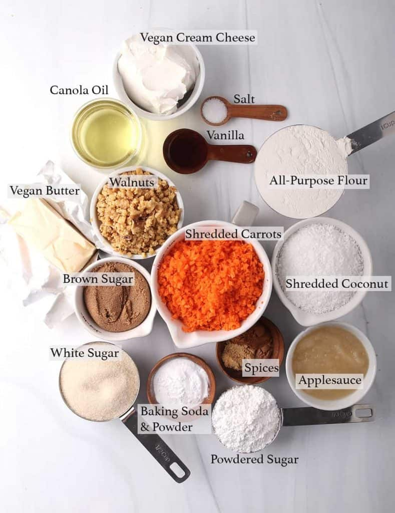 mise en place for vegan carrot cake with cream cheese frosting recipe