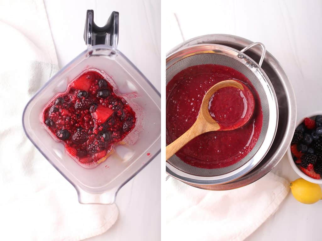 side by side images of cooked berries in a blender on the left, and berries after blending being strained on the right