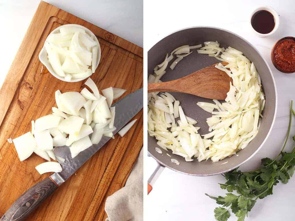 side by side image of onions being sliced on a wooden cutting board on the left, and sautéing in a skillet on the right