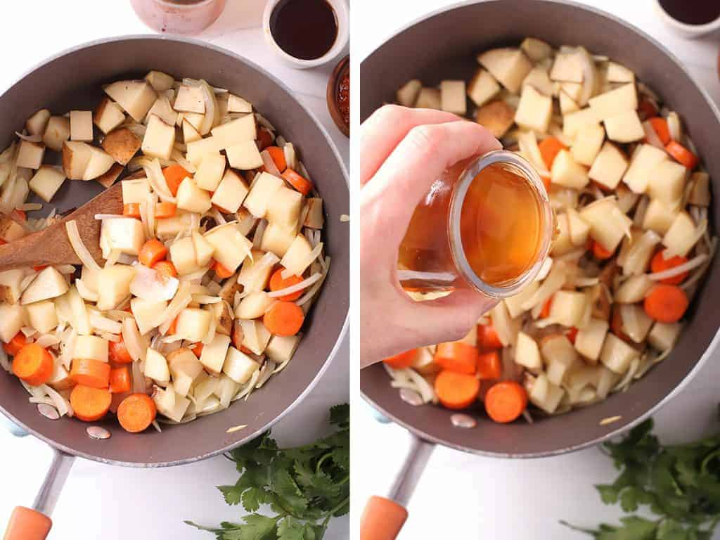 side by side images of potatoes and carrots added to skillet with sautéed onions on the left, and a hand pouring the massaman curry sauce ingredients into the skillet on the right