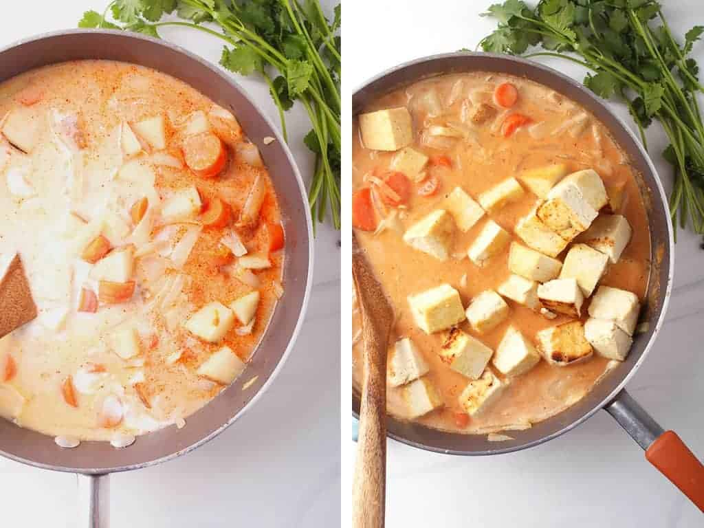 side by side images of the skillet after adding coconut milk on the left, and adding tofu to the curry in the skillet on the right